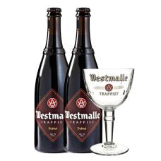 Westmalle Dubbel Bierpakket Cadeau 2 flessen 75cl met Glas