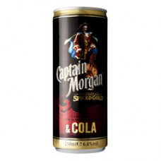 Captain Morgan Spiced Rum Met Cola Premix Blikjes  Tray 12x25cl